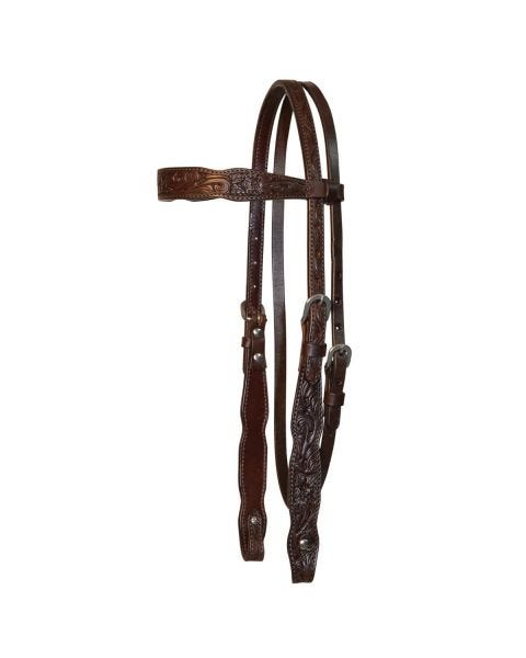 Shaped Floral Browband Headstall-3099