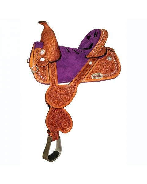 1310-1311 Tammy Fischer Bling Barrel Saddle with Violet Suede Seat and Violet Crystal Conchos