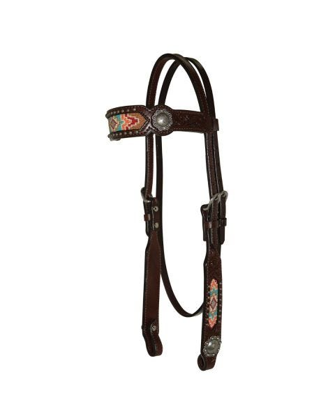 Beaded Berry Browband Headstall