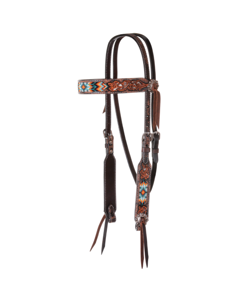Distressed Beaded Tribal Browband Headstall