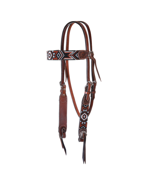 Flat Infinity Beaded Browband Headstall-3507