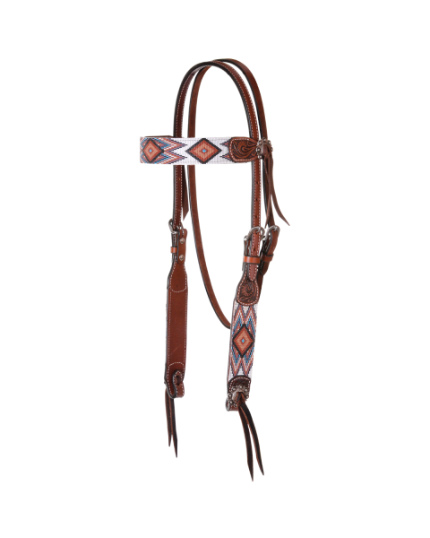 Flat Infinity Beaded Browband Headstall