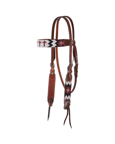 Flat Infinity Beaded Browband Headstall-3459