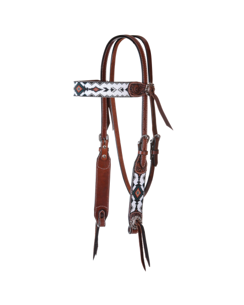 Flat Infinity Beaded Browband Headstall-3477
