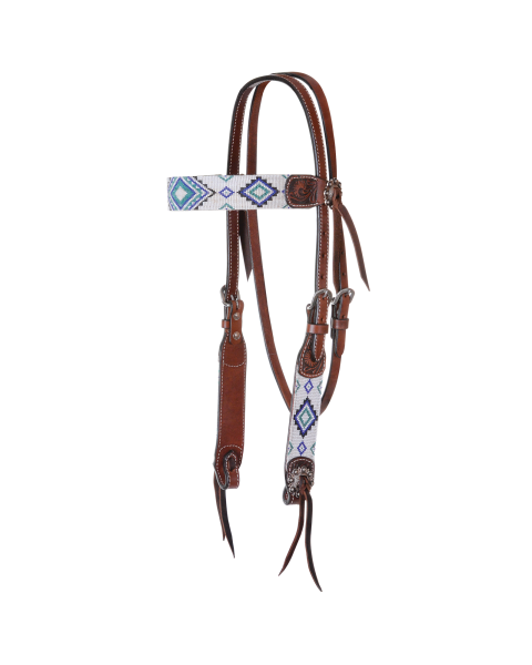 Flat Infinity Beaded Browband Headstall-3444