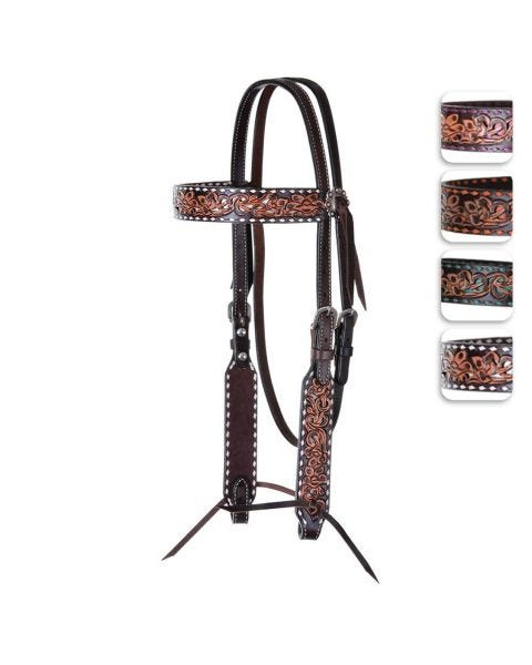 Inlay and Buckstitch Browband Headstall